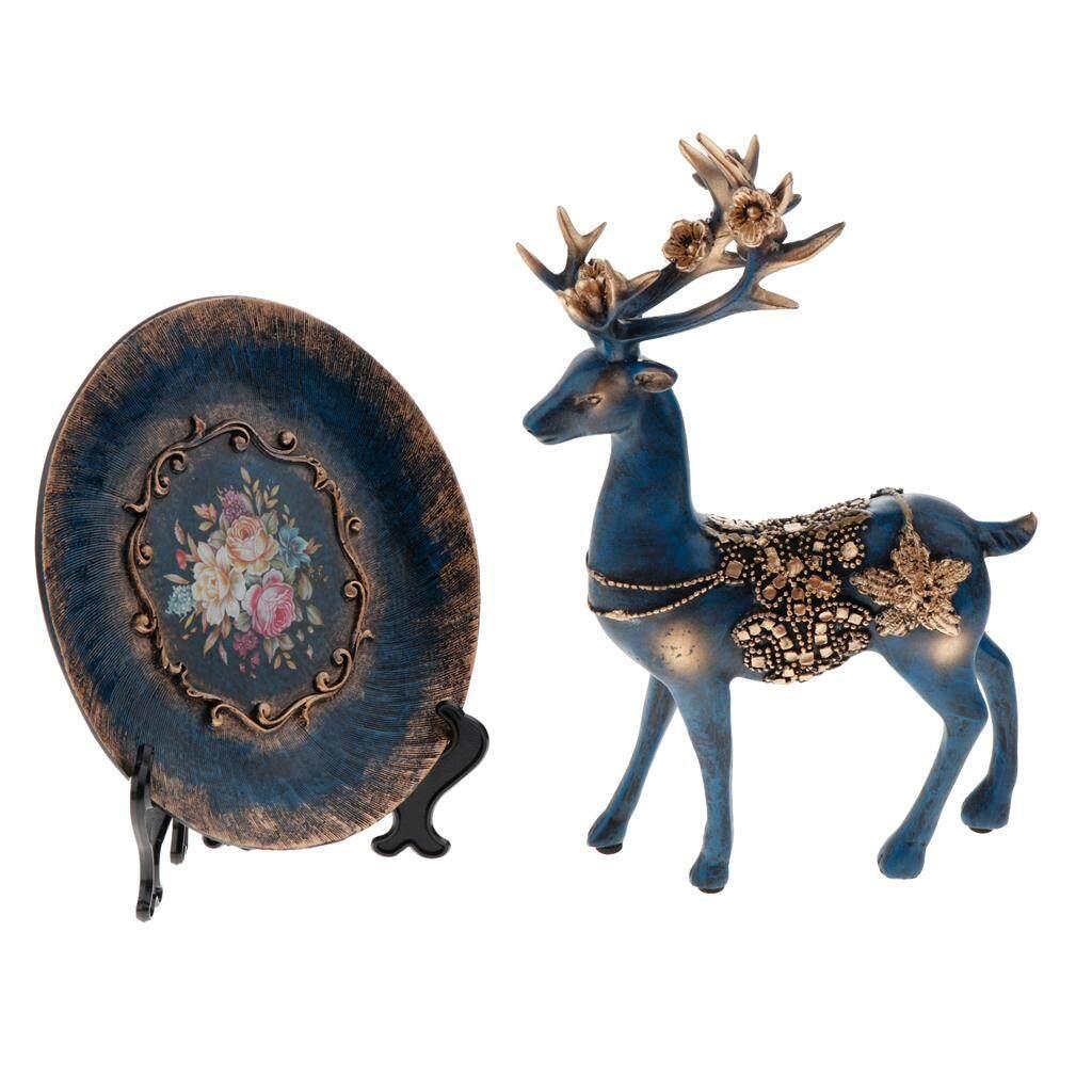 BolehDeals 2xDesktop Decor Figurine Wine Cabinet Desktop Decoration Standing Deer+Plate