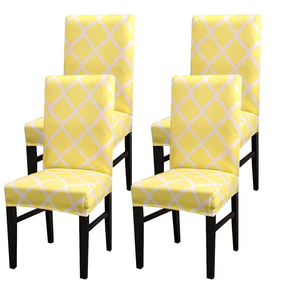 4Pcs Yellow Stretch Dining Chair Covers Slipcovers Universal Fitting Chair Protective Covers-4pc