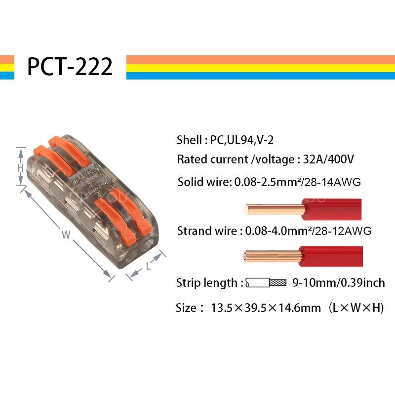10-100 Cái Đầu Nối Dây, PCT-222 Khối Thiết Bị Đầu Cuối Dây Dẫn SPL-2/3 Khối Thiết Bị Đầu Cuối Mini Đẩy Cáp Splitter Led Ánh Sáng Conector