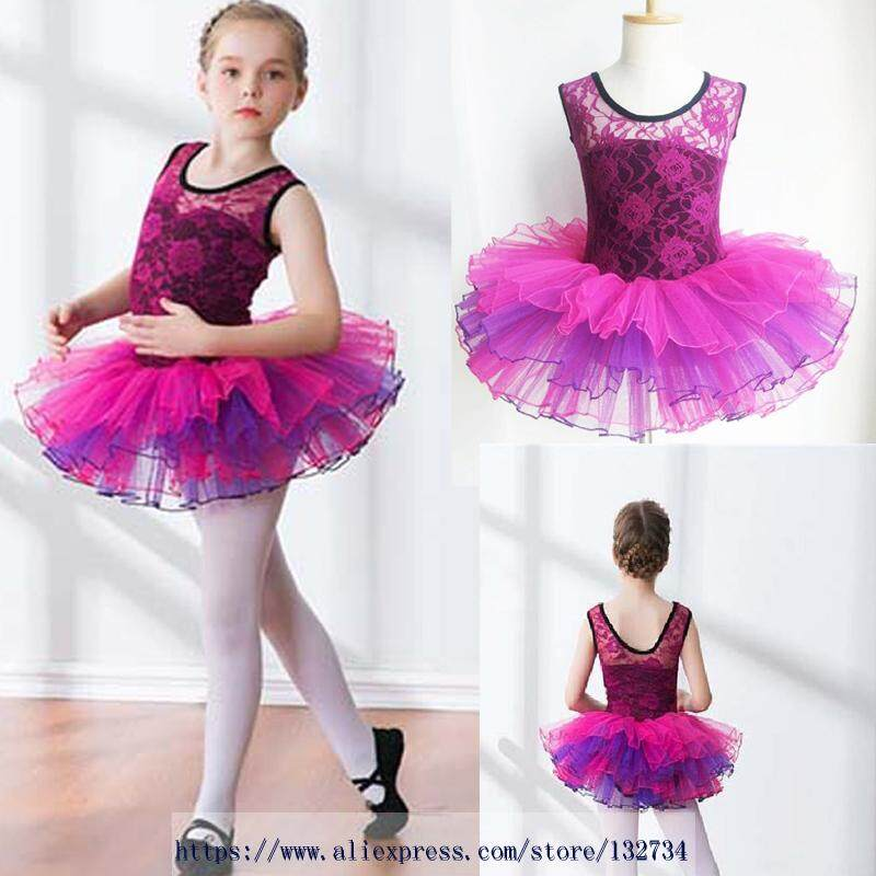 9d10ac5c90 High Quality Girls Dresses Pink Black Cotton Princess Dress Kids Child  Fluffy Gymnastics Ballet Tutu Dress