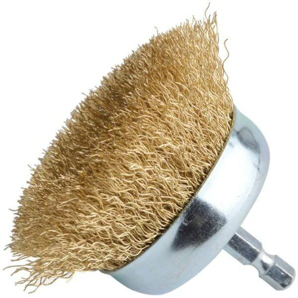 Gold certification 75mm Wire Cup Brush 6.35mm Hex Shank Hardened Brass Steel Crimp Wheel Heavy Duty Wires Brushes for Metal, Removal of Rust Corrosion Paint