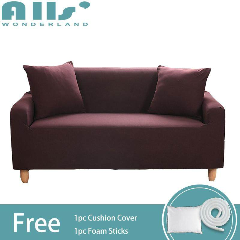 Slipcover 1 2 3 4 seater Pure Color Stretch Sofa cover Elastic Sofa Cover Universal Corner Sofa Slipcover Furniture Protector Length Range for 90-290CM
