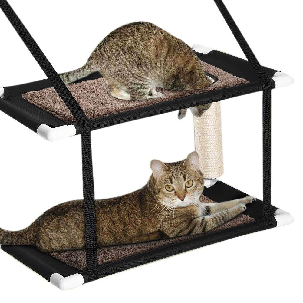 Double Stack Cat Window Perch Hammock Window-Mounted Cat Bed, Suction Cup Hanging Pet Bunk Bed By Benefitwen.