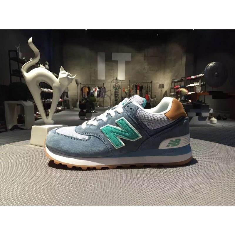 ยี่ห้อนี้ดีไหม  เชียงราย NEW BALANCE/NB574 WL574PIA สีฟ้าสีน้ำตาลผู้ชายผู้หญิงรองเท้าวิ่งรองเท้ากีฬา