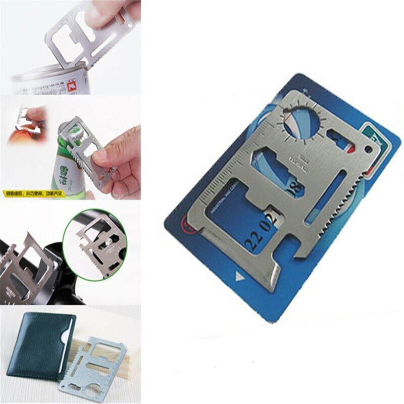 Portable Multitool Carbon Steel Tool Card Bottle Opener Saw Ruler Slotted Screwdriver Wrench Multi Camping Hand Tool Card