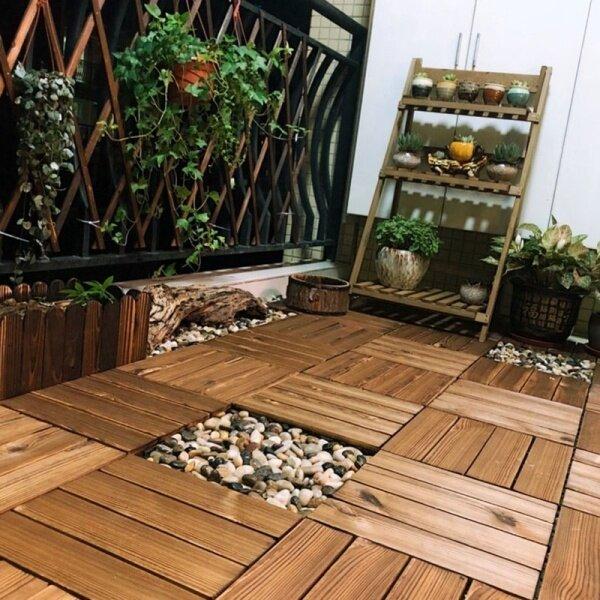 Splicing Wood Interlocking Flooring Tiles Easy Install Anti Skid Deck Floor Outdoor Balcony Courtyard Floor Decoration