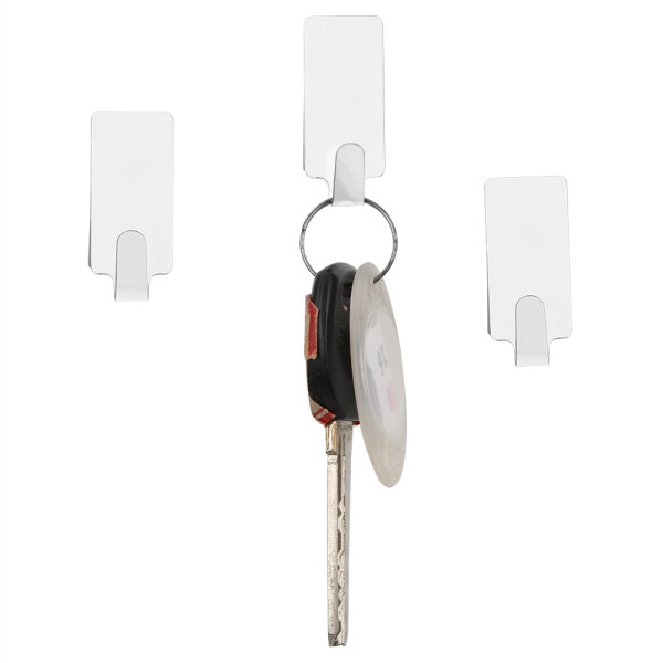 6PCS Stainless Steel Self Adhesive Home Kitchen Wall Door Hook Key Holder Rack Towel Hanger Bathroom Rack Hooks