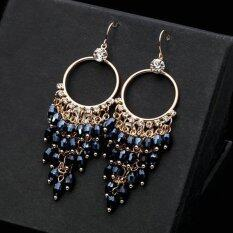 Female Bohemian Crystal Deads Big Dark Blue Drop Unique Earrings By Special Jewelry.