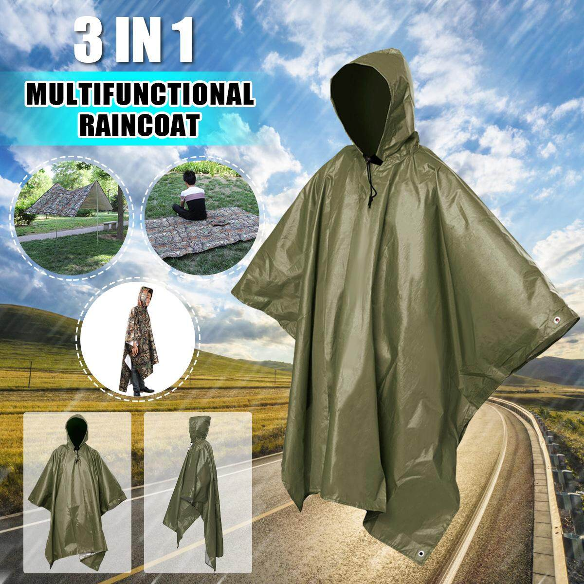 Energetic 3 In 1 Multifunctional Raincoat Outdoor Travel Rain Poncho Rain Cover Waterproof Tent Awning Camping Hiking Sleeping Bag Matching In Colour Camping & Hiking Camp Sleeping Gear