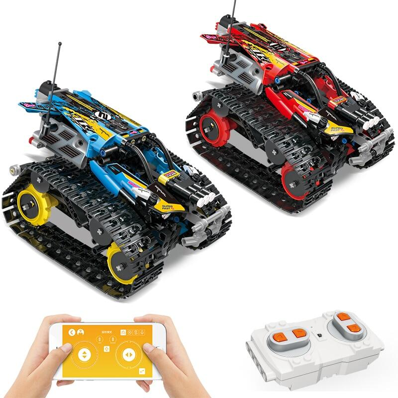 391Pcs Building Blocks Creator APP Remote Control Car With Tracks Red Kids Toy