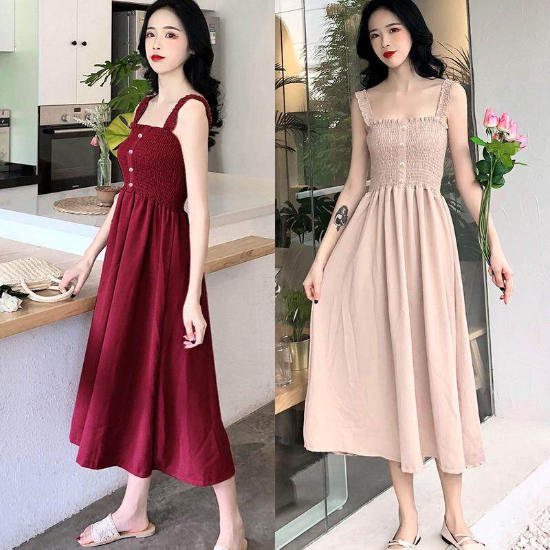 00f72f0e7 MAYZERO Women Fashion Solid Sleeveless Spaghetti Strap Dresses Swing Midi  Dresses Elegent Pleated Dresses