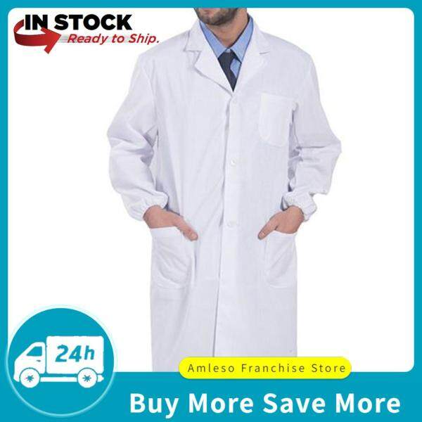 amleso Men Long Sleeve White Scrubs Lab Coat Medical Doctor Nurse Uniform