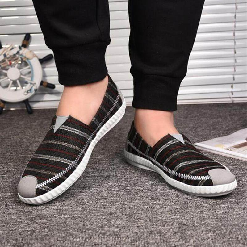 Mens Slip On Summer Canvas Casual Loafers Low Top Breathable Sneakers Run Shoes