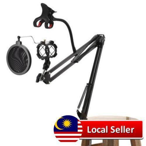 Scimelo Nb35 - S Professional Microphone Stand Suspension Boom With Pop Filter (black) By Maceempoo.