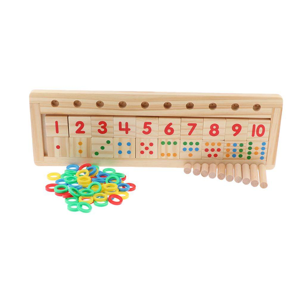 Perfk Wooden Math Toys Numbers Counting & Matching Blocks Set for Kids