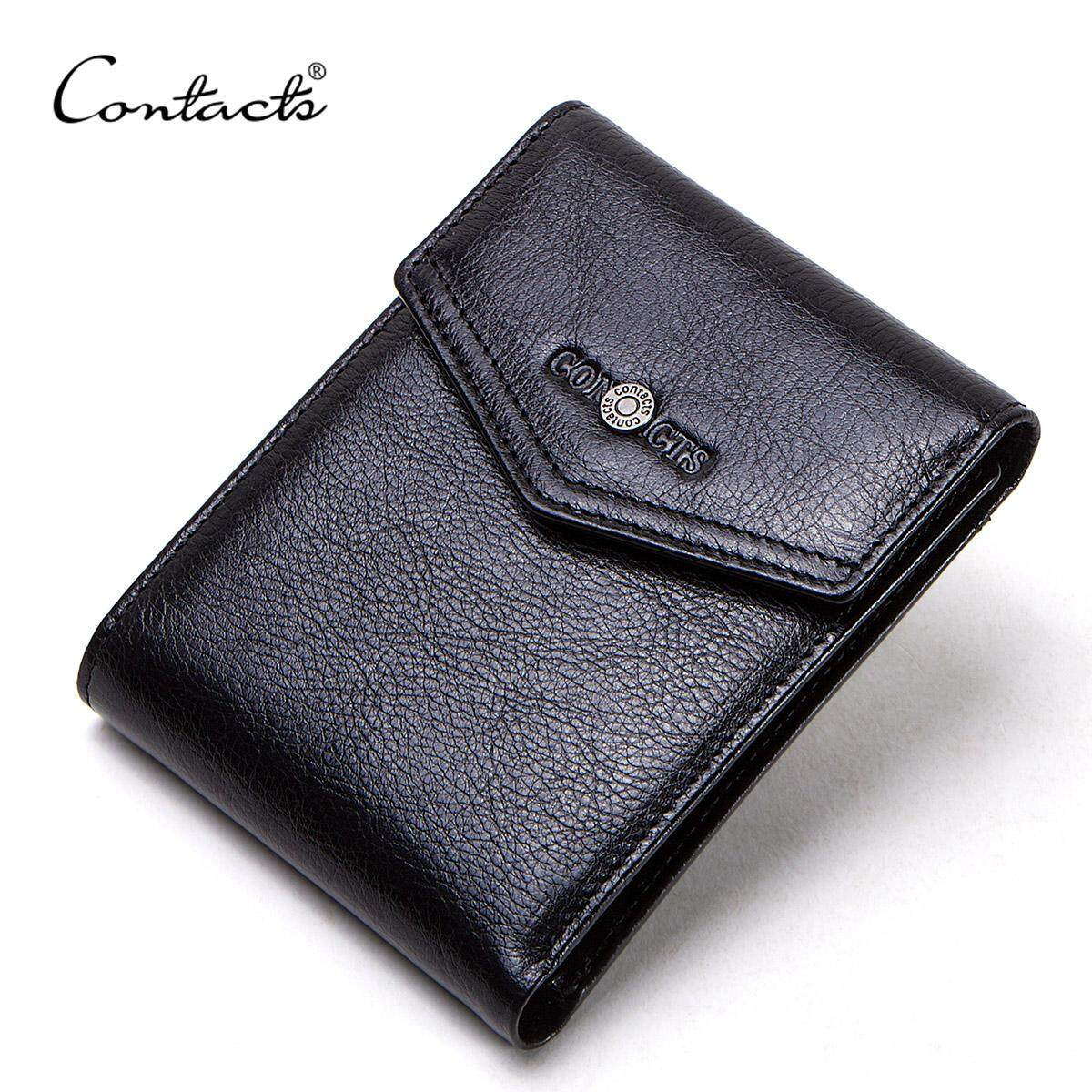 CONTACTS 100% Genuine Leather Wallets Short Trifold Men Wallet Quality Coin Purse Card Holder Small Money Bag for Man