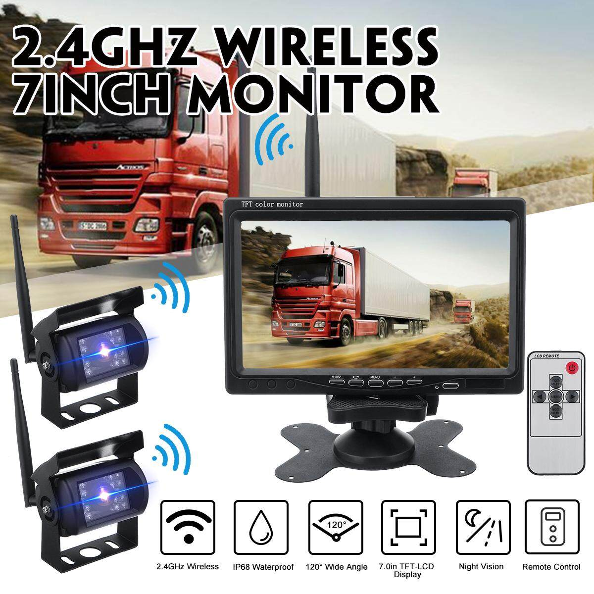 [With Dual Cameras] 7Inch Wireless Reversing Camera Car Backup Camera For Bus Truck Caravan Car Monitor Screen DC11V-32V