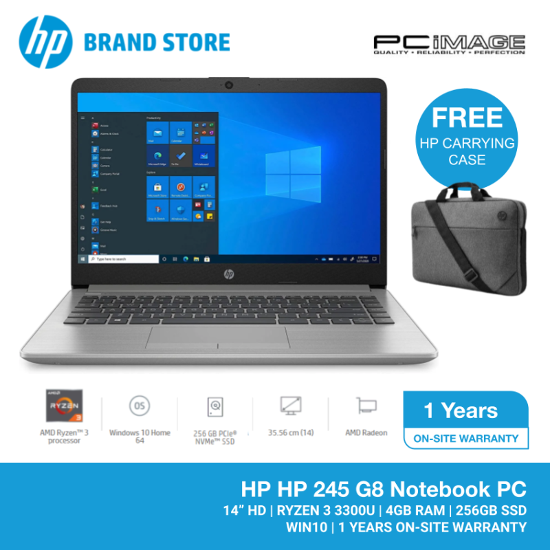 HP 245 G8 14 HD LAPTOP (RYZEN3-3300U/4GB/256GB SSD/W10H/1YR W/SILVER) FREE CARRYING CASE Malaysia