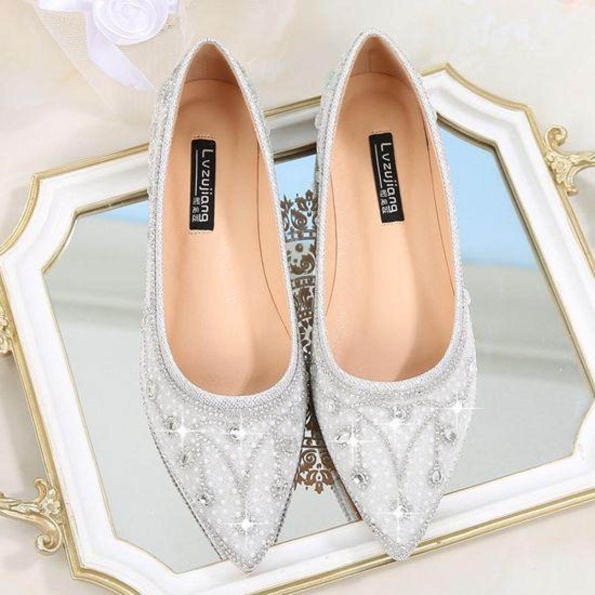 737c73fa0afad Wedding Shoes women 2018 New Style Bridal Shoes Flat Pointed Man-made  Diamond Silver-