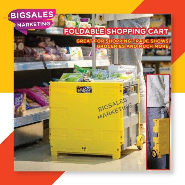 ◇  BIGSALES Foldable Grocery Shopping Storage Cart Trolley With Wheel Load 25KG Fishing Foldable Storage