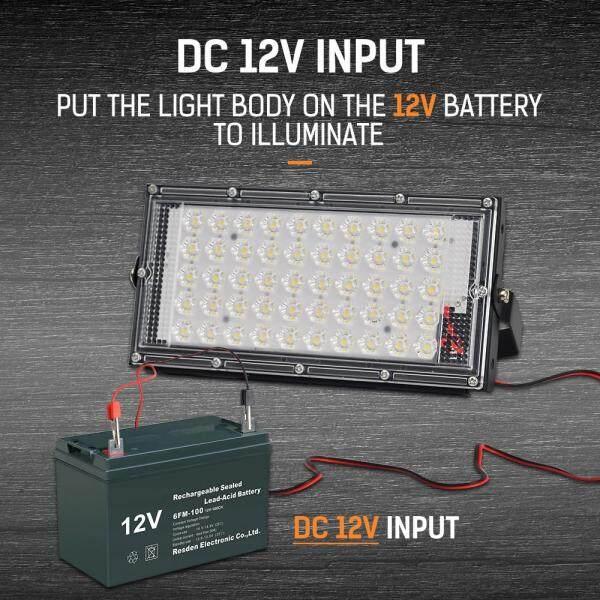 DINGDIAN LED DC12V Đèn LED Đèn Pha Ngoài Trời Cá Sấu Clip Chống Nước 50W 6500K Đèn LED Trắng Lạnh Đèn Chiếu Sáng Siêu Sáng Cho Sân Vườn, Sân, Chợ Đêm