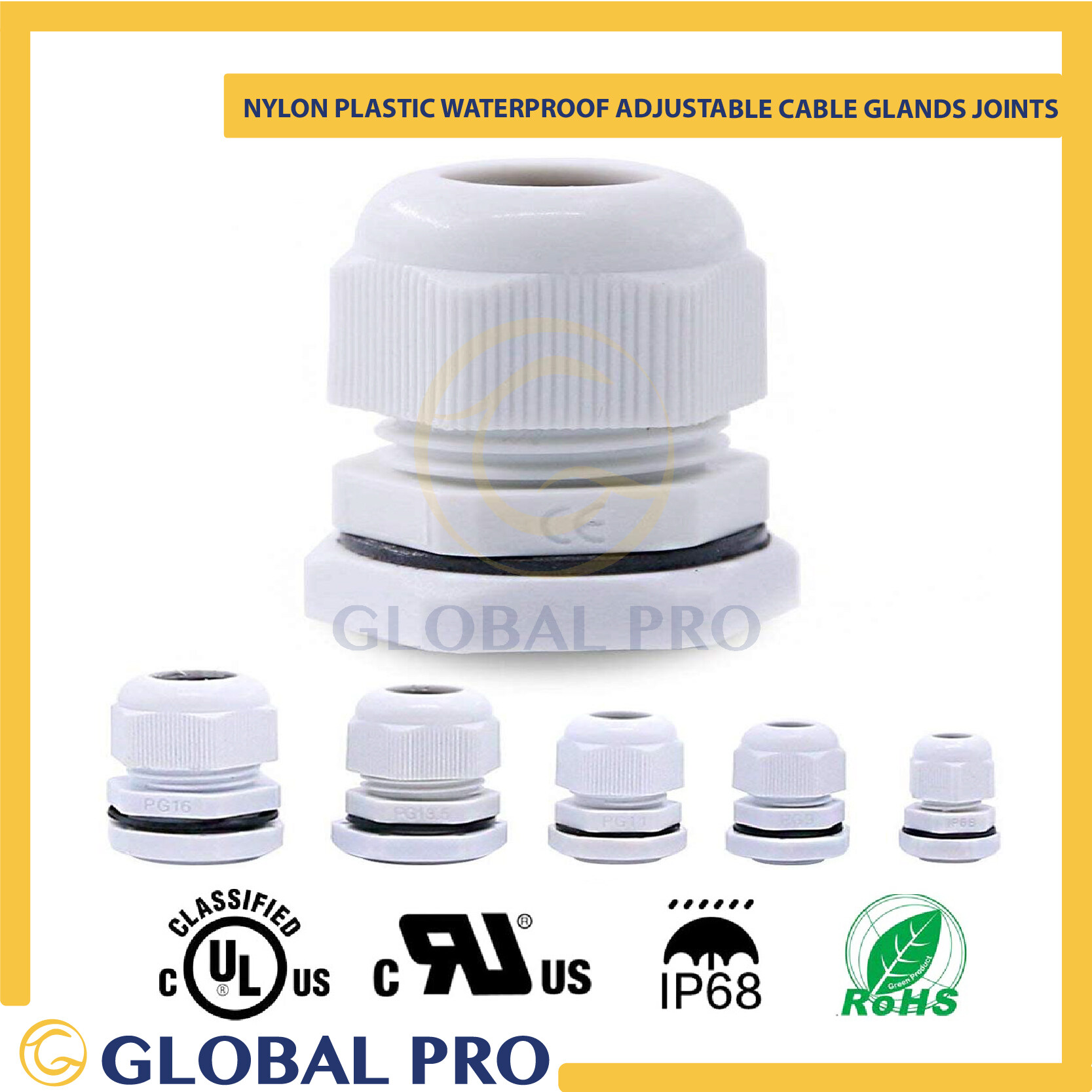 {10PCS} IP68 Nylon Plastic Waterproof Adjustable Cable Glands Joints  White Cord/ Wire Connector Fitting PG 7,9,11,13.5,16