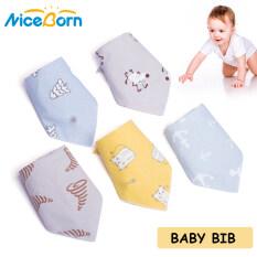 Bộ 5 chiếc yếm NiceBorn chất liệu cotton 100% mềm mại thiết kế hình tam giác in họa tiết hoạt hình dễ thương dùng thấm nước bọt em bé trai và bé gái – INTL