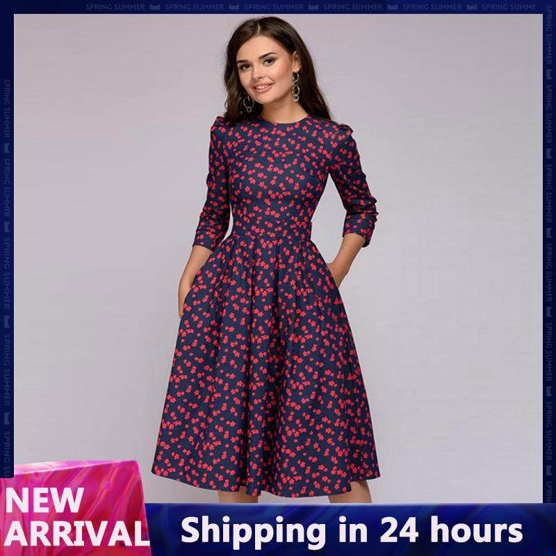 09790aa86f90 Women Spring Autumn A-Line Dress Casual Print Vintage Dress 3/4 Sleeve for