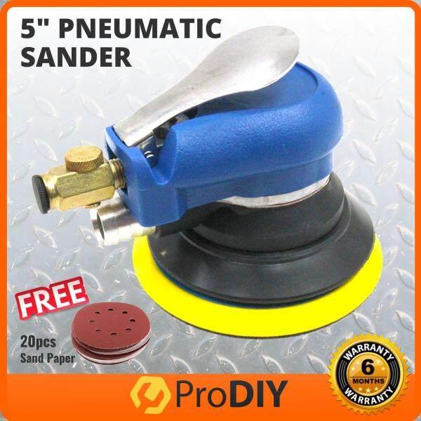 Pneumatic Palm Random Orbital Sander Polisher Grinding Polishing 5 Inch 10000rpm FOC 20pcs 125mm Velcro Sand Paper