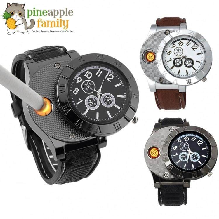 Mens Electronic Lighter Rechargeable Watch Fashion Chronograph Watch Malaysia