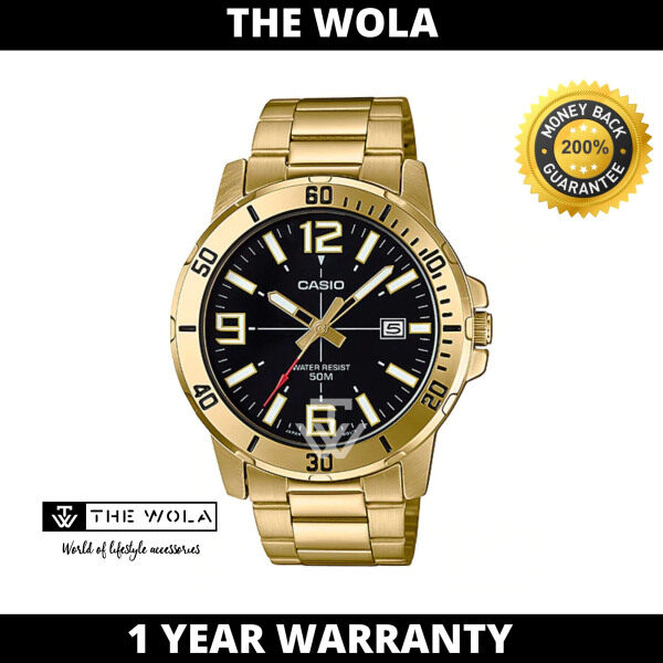 Casio Mens Analog MTP-VD01G-1BVUDF Stainless Steel Band Gold Watch  (watch for man / jam tangan lelaki / casio watch for men / casio watch / men watch) Malaysia