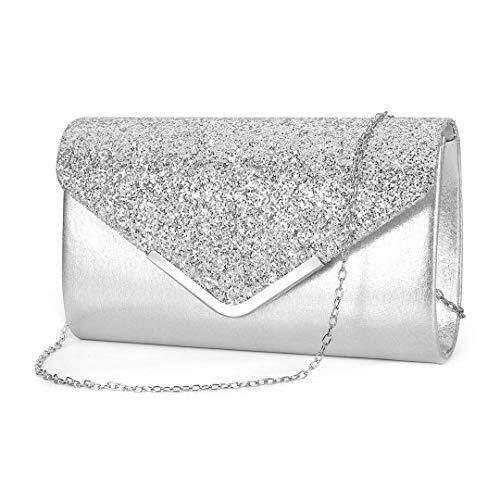 HOLILA Evening Dinner Purse Sequins Metallic Glitter Clutch Women HandBag Tide One Shoulder Lady bagDazzling Sparkling Party Bag #679