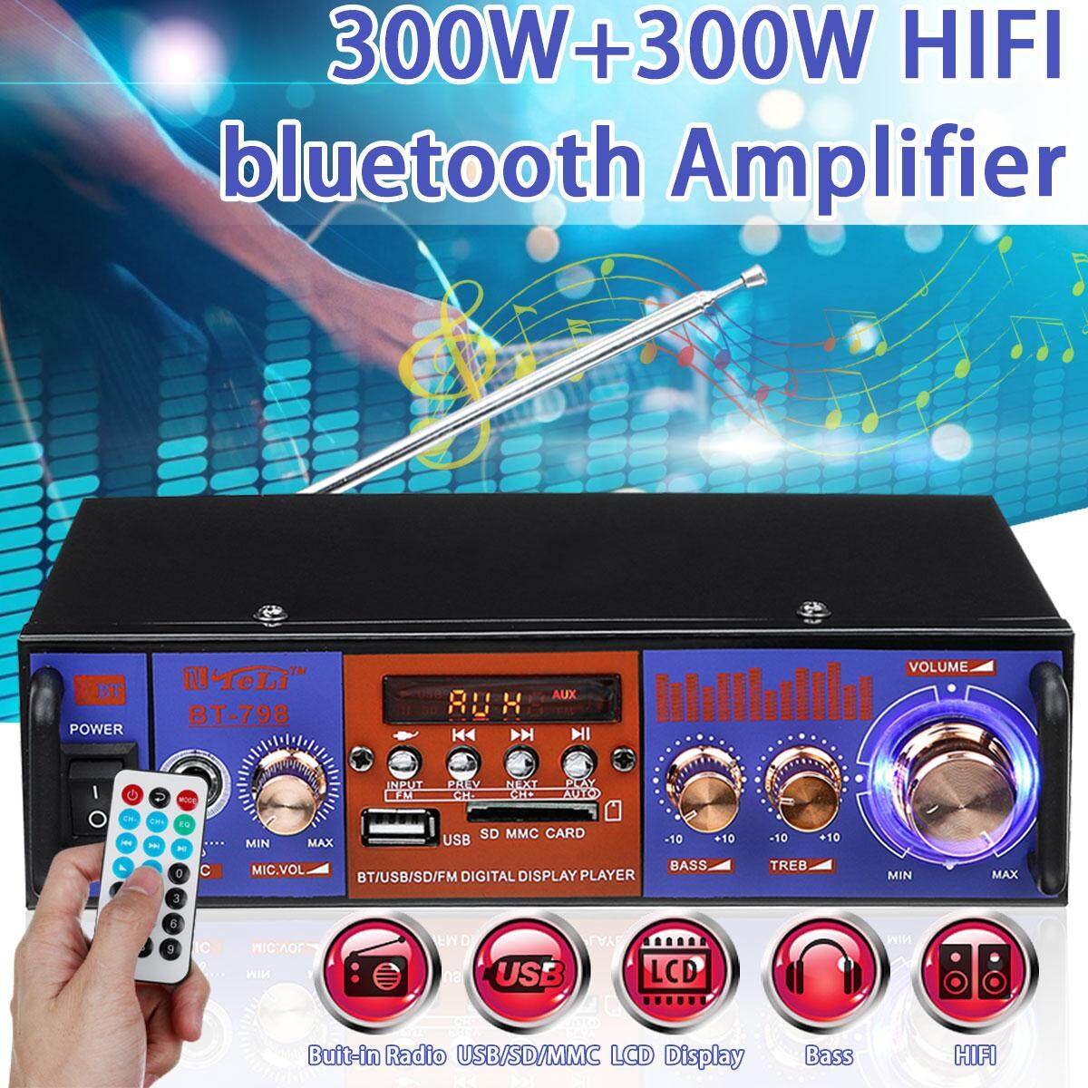 Digital HiFi Power Amplifier Bass Stereo Audio LCD Home FM MP3 Player 300W+300W