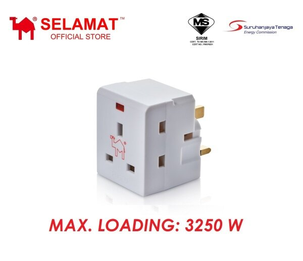 Selamat 3 Way Adaptor with Neon (SIRIM Approved)