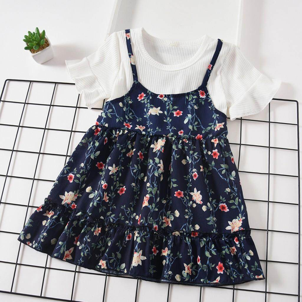 a1ade44aa1acbc Toddler Baby Kids Girls Fly Sleeve Ruched Floral Flowers Print Dresses  Clothes