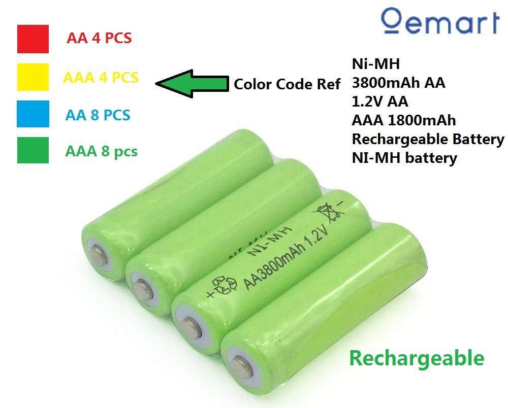 (4 Pcs To 8 Pcs) 3800mah Aa 1800mah Aaa Rechargeable Battery 1.2v By Oemart.