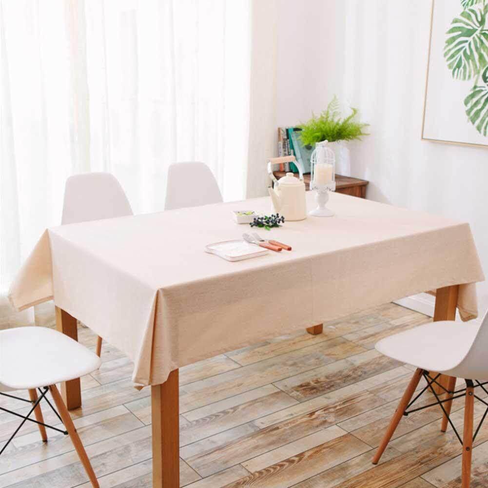 KOWAH Stitched Fringe Cotton Linen Table Cloths for Kitchen Modern Decorative Dining Rectangle Desktop Cover