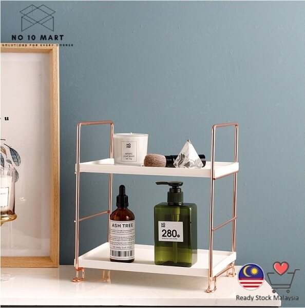 [Ready Stock] 2 Tiers Rose Gold - Gold European Multifunction Multilayer Shelves Assembled Cosmetics Organizer Storage