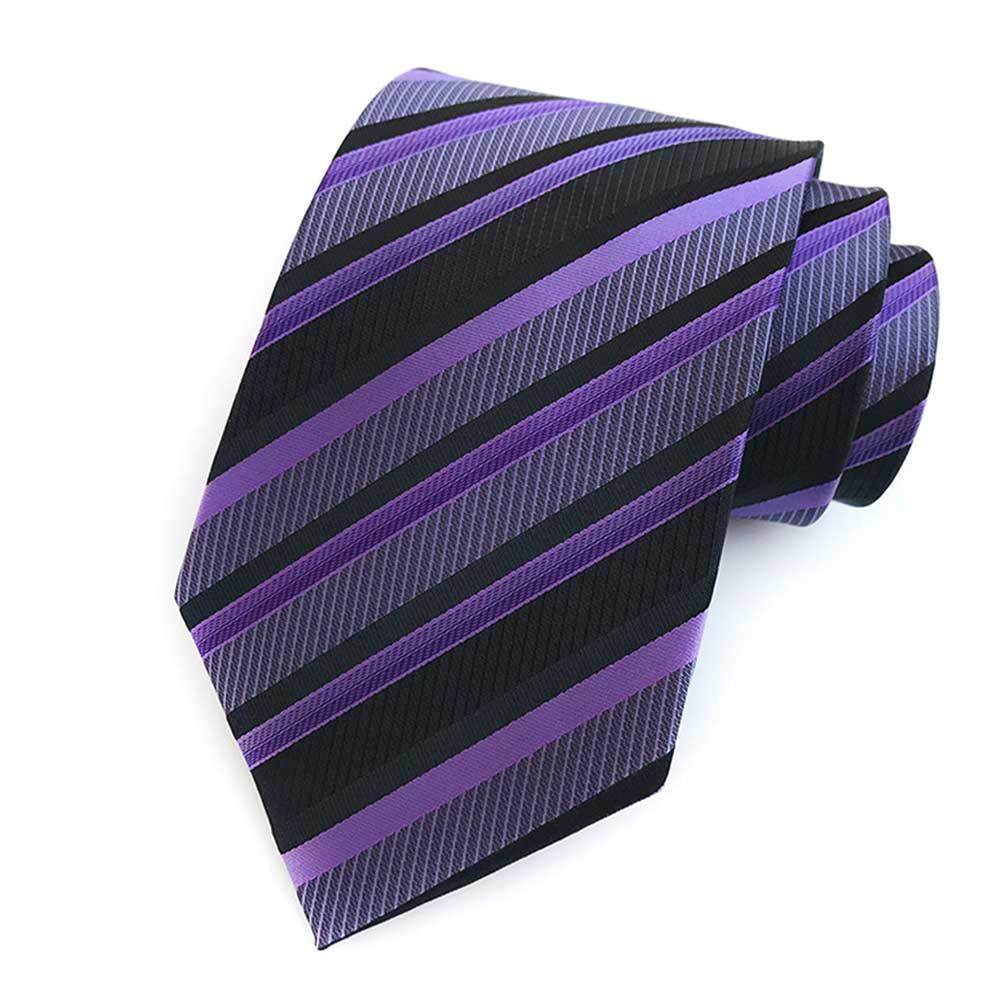 172507831309 8CM Polyester Jacquard Ties For Men, High-End Striped Necktie For Wedding  Or Business
