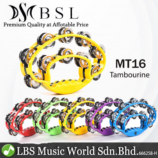 BSL MT16 Double Layer Steel Tambourine with Jingle for Percussion With Handle (Random Colour) Malaysia