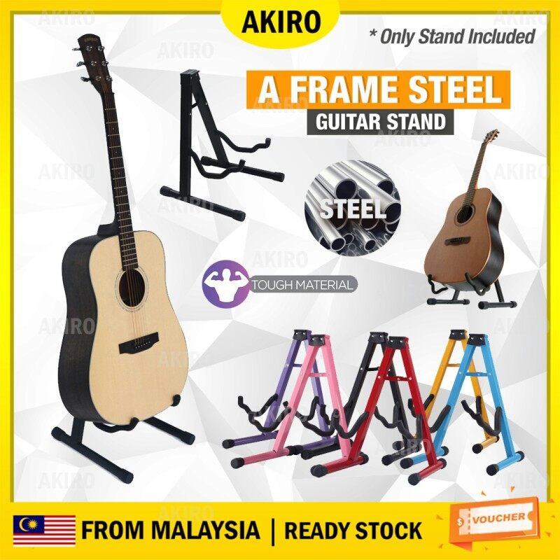 AKIRO Malaysia A Frame Guitar Stand Floor Square Steel Pipe Acoustic Classical Bass Electric Guitar Accessories Bass Holder Malaysia