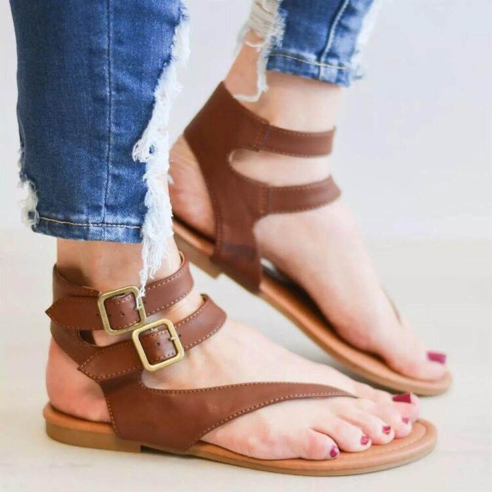ed244eddf 2019 Wonder Korean-style Women Summer Strappy Gladiator Low Flat Heel Flip  Flops Beach Sandals