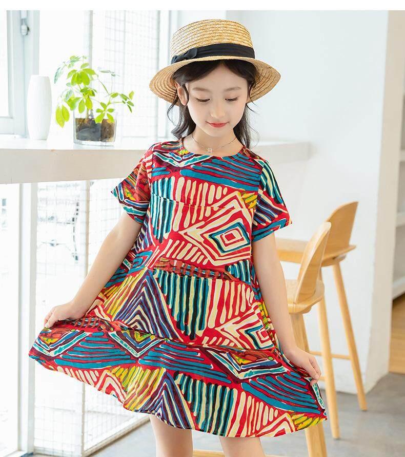 140cm Childrens Wear 2018 Summer New Girls Short-Sleeved Dress In The Big Children Retro Ethnic Wind Graffiti Skirt Wholesale By Freebang.