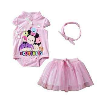 ประณีตเด็กทารกแรกเกิดเพศหญิงสีชมพูรอมเปอร์ cheongsam ที่คาดศีรษะกระโปรงตูตูเสื้อผ้าเด็กผู้หญิงชุดปาร์ตี้วันเกิดทารกของขวัญโรงเรียนเด็ก-