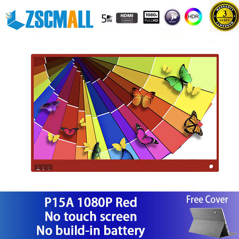 """ZSCMALL Touch Screen Monitor Cheap price  15.6"""" USB Type-C Full HD 1080 IPS USB C Portable Monitor Built-in Dual Speakers and Battery Compatible with Laptop Computer Raspberry pi Gaming Monitor for PS4 PS3 Xbox Free Shipping Malaysia"""