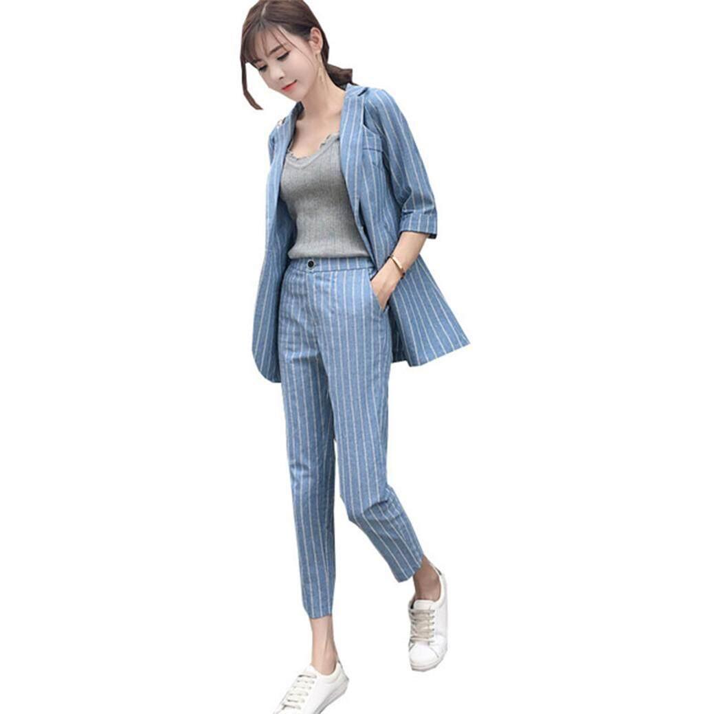 17e9642e0 Women's Suit Female 2019 Spring and Autumn New Temperament Slim Fashion  Plaid Stripes Office Ladies OL