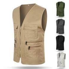 Áo ghi-lê thể thao nhiều túi cho nam, áo ghi-lê chất liệu cotton dùng đi câu cá, đi bộ đường dài phong cách giản dị – INTL