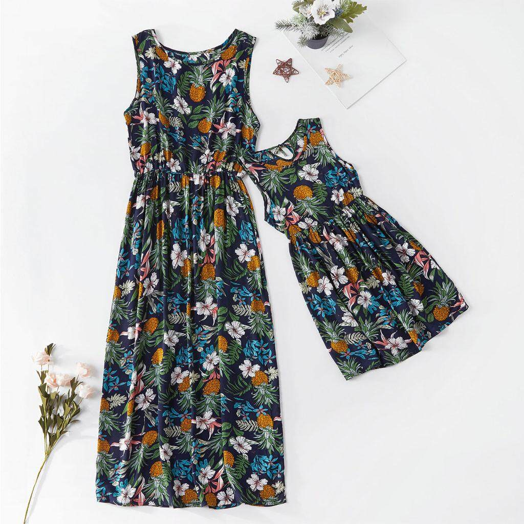 9c298cab20f74 SLTS_Mommy&Me Child O-Neck Sleeveless Ruffles Floral Printing Family Clothes  Dress