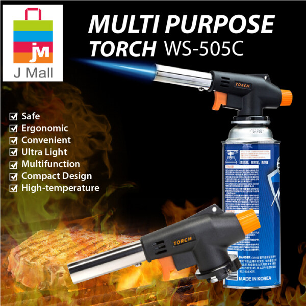 J MALL WS-505C MULTI PURPOSE TORCH IGNITION WITH GAS (SET) Butane Burner Gas Cartridge Portable Outdoor Cooking BBQ Camping