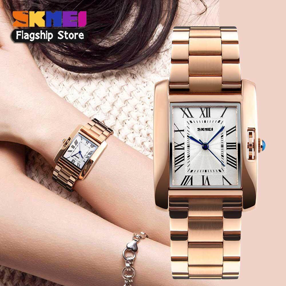 SKMEI Women Fashion Watches Quartz Stainless Steel Watch Casual Waterproof Lady Wristwatches 1284